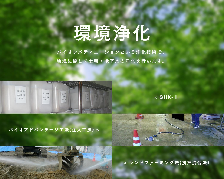 環境浄化 バイオレメディエーションという浄化技術で、環境に優しく土壌・地下水の浄化を行います。